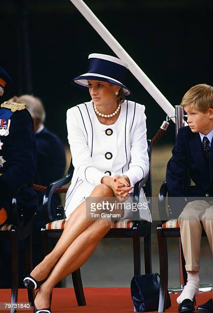 Diana Princess of Wales and Prince Harry attend the VJ Day commemorative events Prince Harry is not wearing his shoes