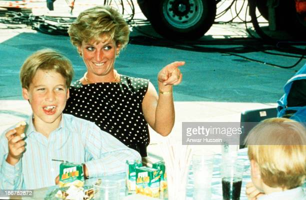 Diana Princess of Wales and Prince William enjoy some refreshments at Windsor Great Park on June 01 1991in Windsor England
