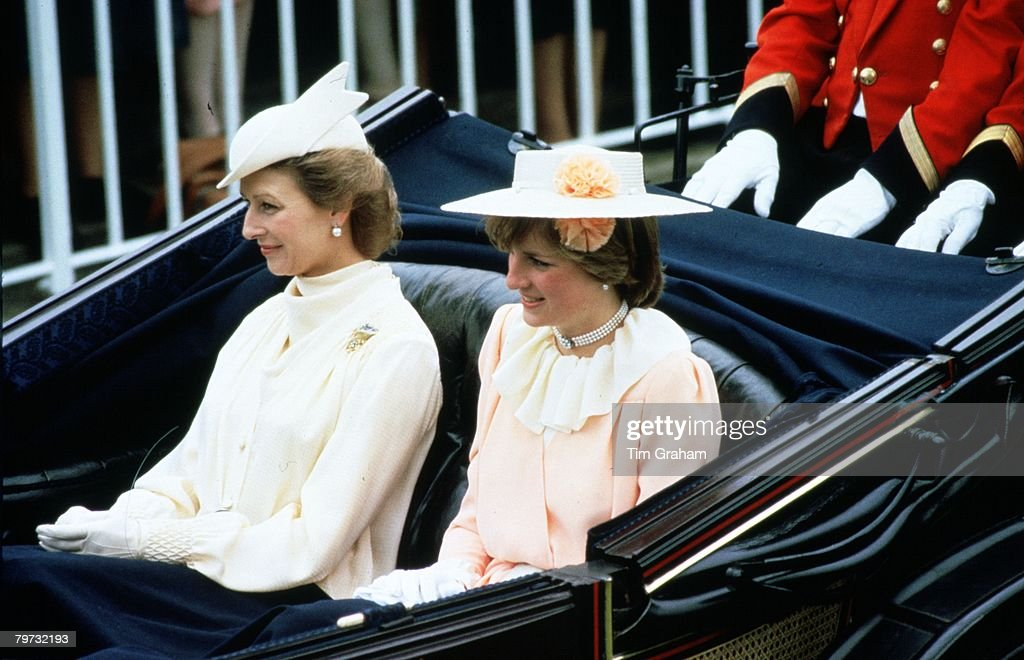 Diana, Princess of Wales and Princess Alexandra in the carriage procession at Royal Ascot Races