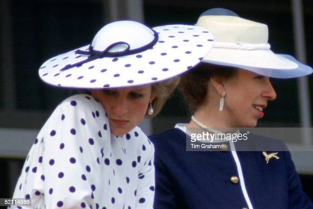 Diana Princess Of Wales And Princess Anne On Derby Day Princess Diana Is Wearing A Polka Dot Day Dress Designed By Fashion Designer Victor Edelstein