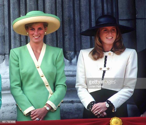 KINGDOM SEPTEMBER 15 Diana Princess of Wales and Sarah Duchess of York attend the 50th Anniversary of The Battle of Britain Parade on the balcony of...