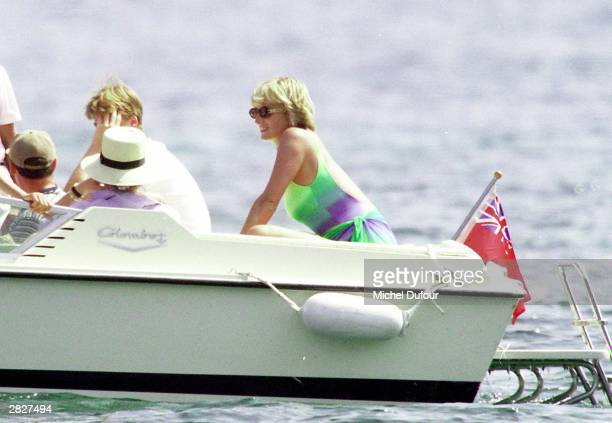 Diana Princess Of Wales and youngest son HRH Prince Harry are seen in St Tropez in the summer of 1997 shortly before Diana and boyfriend Dodi were...