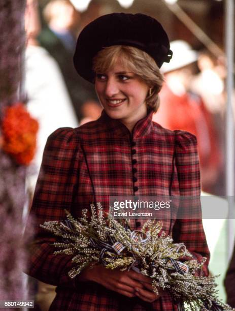 Diana Princess of Wales arrives at the Braemar Games on September 4 1982 at Braemar near Balmoral Scotland The Princess wore a dress by Caroline...