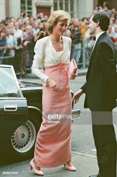 Diana Princess Of Wales arrives at the Coliseum theatre in St Martins Lane for a performance Swan Lake by the Bolshoi balletThe Princess is wearing a...