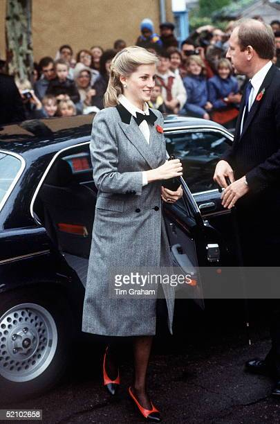 Diana Princess Of Wales Arriving By Jaguar Car For A Visit To Barnados Children's Charity Of Which She Is Patron Her Outfit Was Described As A Teddy...
