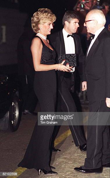 Diana Princess Of Wales Arriving For A Gala Evening In Aid Of The Charity Cancer Research At Bridgewater House London Sw1 The Princess Is Wearing A...