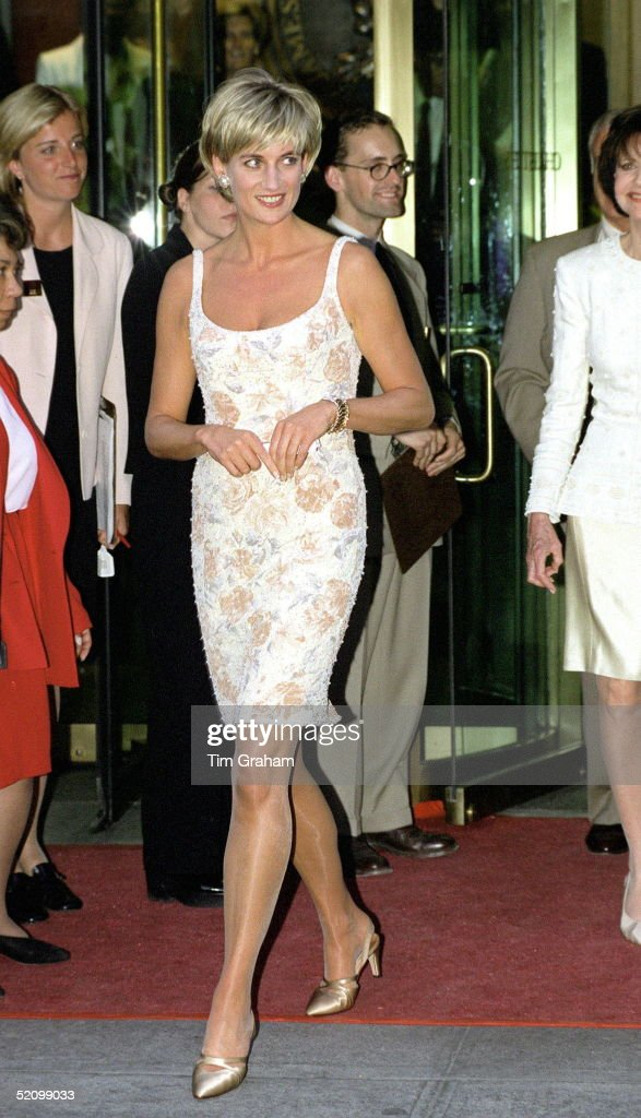 Diana, Princess Of Wales Arriving For The Christies Party In New York Wearing A Champagne Coloured Dress Designed By Fashion Designer Catherine Walker. Her Shoes Are Designed By Jimmy Choo.