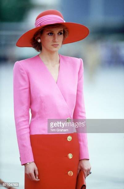 Diana Princess Of Wales Arriving In Kuwait During Her Tour Of The Gulf States Wearing A Dress Designed By Fashion Designer Catherine Walker