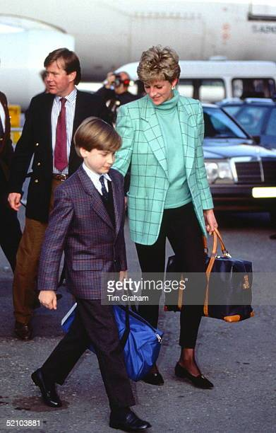 Diana Princess Of Wales Arriving With Prince William At Zurich Airport For A Skiing Holiday In Lech Austria They Are Accompanied By Bodyguard Ken...