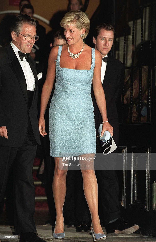 Diana, Princess Of Wales As Patron Of The English National Ballet, Attends Their Royal Gala Performance Of 'swan Lake' At London's Royal Albert Hall. The Princess Is Wearing An Ice Blue Beaded Evening Shift Dress Designed By Jacques Azagury With Matching Shoes By Jimmy Choo. Her Necklace Has Been Loaned By Garrard The Jewellers.