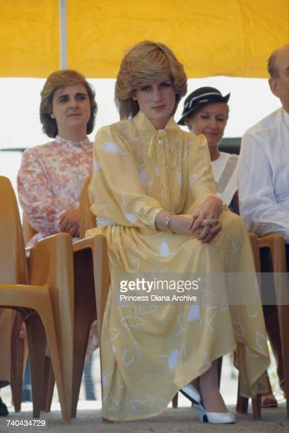 Diana Princess of Wales at a ceremony marking the start of the royal tour of Australia at Alice Springs Airport 21st March 1983 She is wearing a...