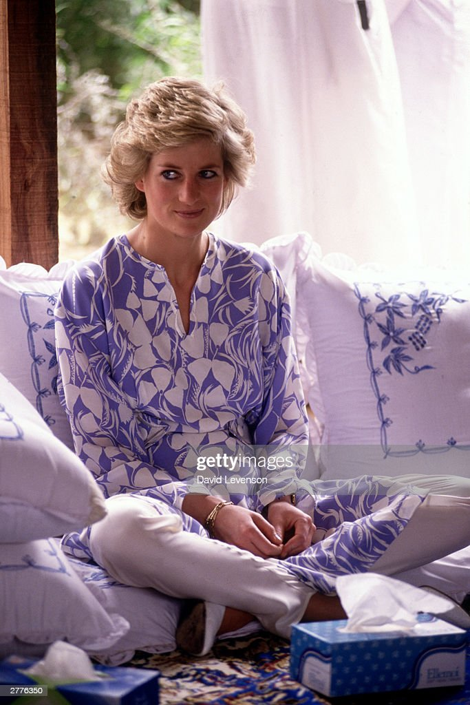 Diana Princess of Wales at a desert picnic in Saudi Arabia in November 1986, during the Royal tour of Saudi Arabia. Diana wore an outfit by Catherine Walker.