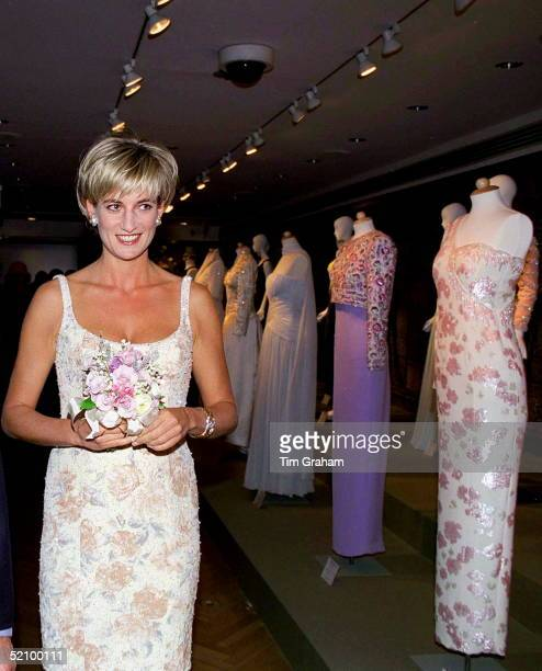 Diana Princess Of Wales At Christie's New York For A Party To Launch The Dresses Auction