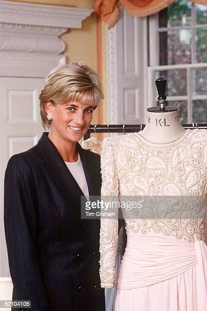 Diana Princess Of Wales At Home In Her Sitting Room At Kensington Palace With A Dress Designed By Fashion Designer Catherine Walker Which She Is...