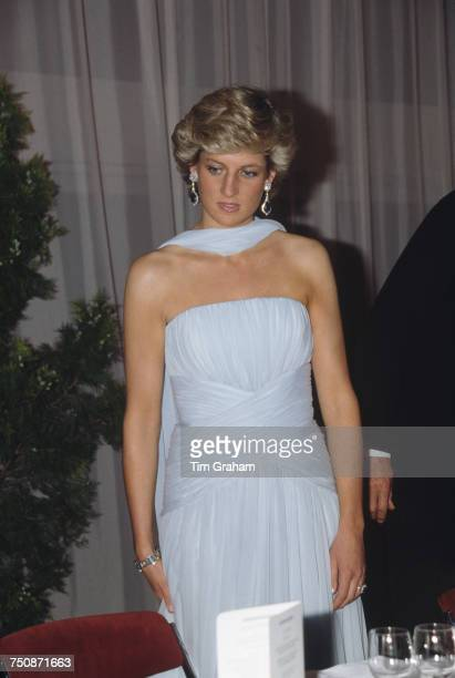 Diana Princess of Wales at the Cannes Film Festival for a gala night in honour of actor Sir Alec Guinness 15th May 1987 The Princess is wearing a...