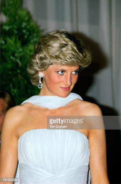 Diana Princess of Wales at the Cannes Film Festival for a gala night in honour of actor Sir Alec Guinness The Princess is wearing a pale blue silk...