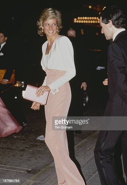 Diana Princess Of Wales at the London Coliseum for a performance of the ballet 'Swan Lake' by the Bolshoi Ballet 27th July 1989 Her dress is by...