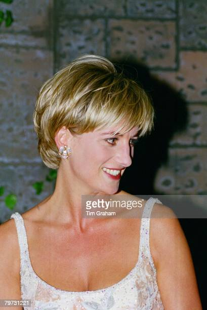 Diana Princess of Wales at the preauction party at Christie's New York Her dress is by designer Catherine Walker