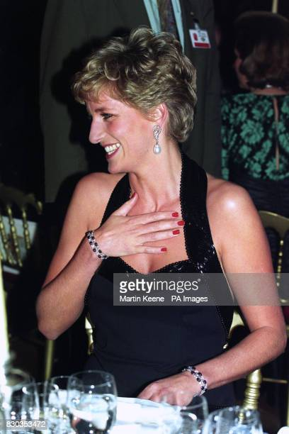 Diana Princess of Wales at Versailles Paris where she was attending a charity dinner in aid of Barnado's and the Fondations pour l'Enfance 23/3/00 A...