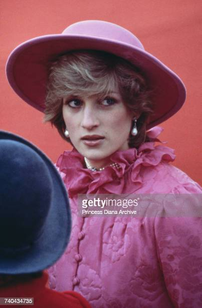 Diana Princess of Wales at Westminster Pier ready to greet Queen Beatrix of the Netherlands as she arrives on her state visit London 16th November...