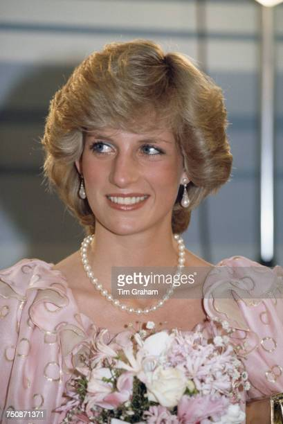 Diana Princess of Wales attending a gala concert at Melbourne Concert Hall Australia 14th April 1983 She is wearing a Catherine Walker dress