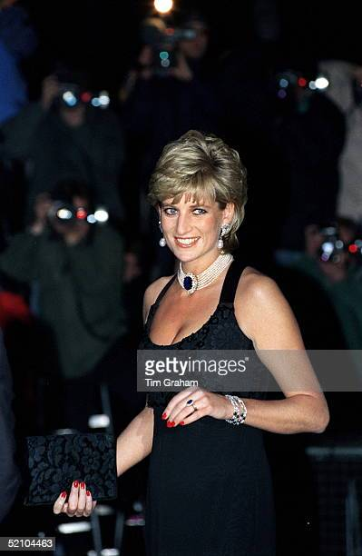 Diana Princess Of Wales Attending A Gala Evening In Aid Of Cancer Research At Bridgewater House London Sw1 The Princess Is Wearing A Black Lowcut...