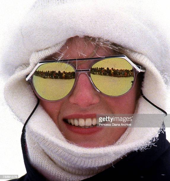 Diana Princess of Wales attending an official photo call during their ski holiday in Klosters February 1987