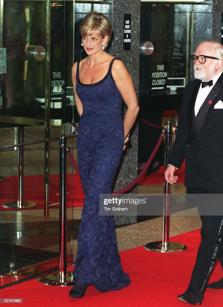 Diana, Princess Of Wales Attending The Premiere Of The Film 'in Love And War' At The Empire In Leicester Square In Aid Of The British Red Cross Anti-personnel Mines Campaign. With Her Is Actor Richard (dickie) Attenborough, The Film's Director. The Princess Is Wearing A Tight-fitting Blue Lace Dress Designed By Catherine Walker.