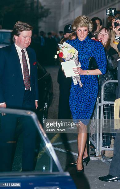Diana Princess of Wales attends The Evening Standard Theatre Awards at The Savoy Hotel accompanied by her Royal Protection Officer Ken Wharfe on...