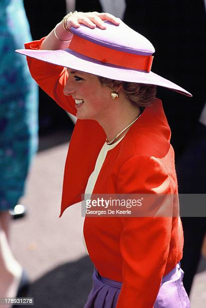 Diana Princess of Wales attends the first day of Royal Ascot on June 19 1989 in Ascot England The Princess wears a suit by Catherine Walker and a...