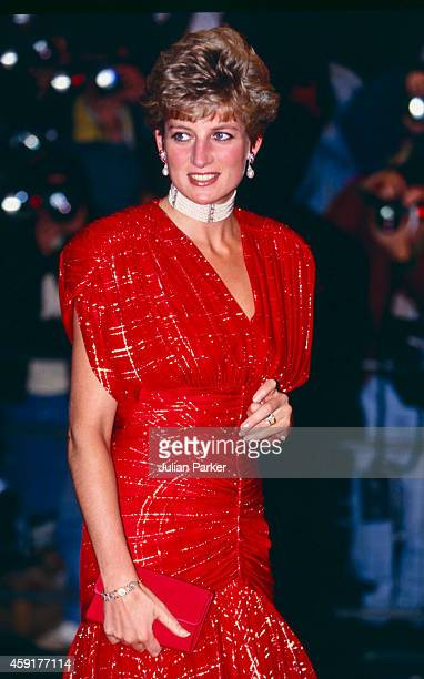Diana Princess of Wales attends the Premiere of Hot Shots in London's West End on November 18 1991 in London United Kingdom