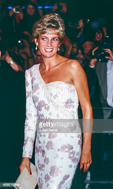 Diana Princess of Wales attends the Premiere of Stepping Out in London's West End on September 19 1991 in London United Kingdom