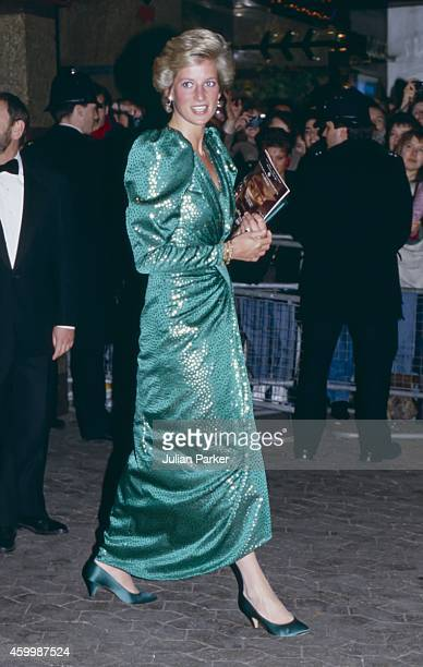 Diana Princess of Wales attends the Premiere of The Hunt for Red October in London's West End on April 17 1990 in London United Kingdom
