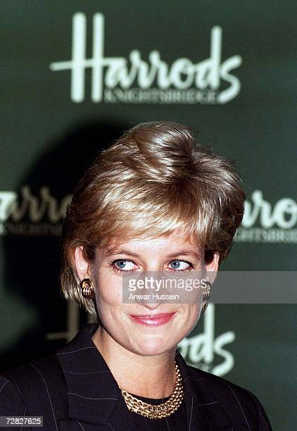 Diana Princess of Wales attends the Royal Brompton Hospital's 'Heart of Britain' book launch at Harrods department store on October 15 1996 in...