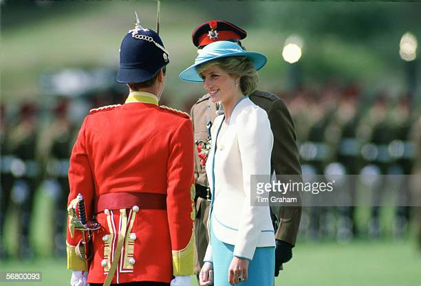Diana Princess of Wales ColonelinChief of the Royal Hampshire Regiment meets and inspects the 1st Battalion during a visit to Tidworth
