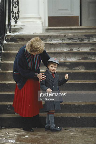 Diana Princess of Wales drops her son Prince William off at Wetherby School in London 15th January 1987