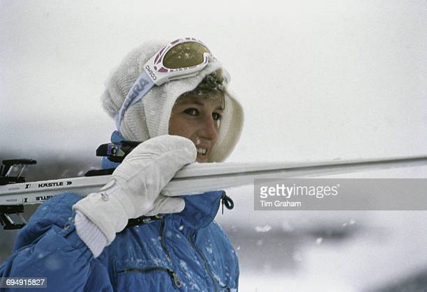 Diana Princess of Wales during a skiing holiday in Lech Austria March 1992