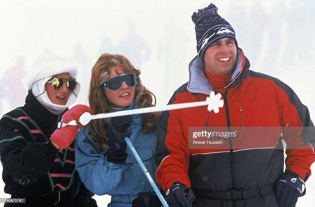 Diana Princess of Wales enjoys skiing with Sarah Duchess of York and Prince Andrew Duke of York during a skiing holiday on February 17 1987 in...