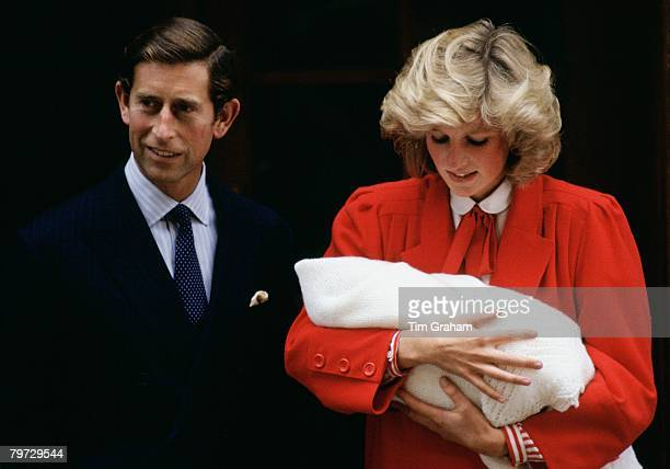 Diana Princess of Wales holds Prince Harry as she and Prince Charles Prince of Wales leave the Lindo Wing at St Mary's Hospital in Paddington