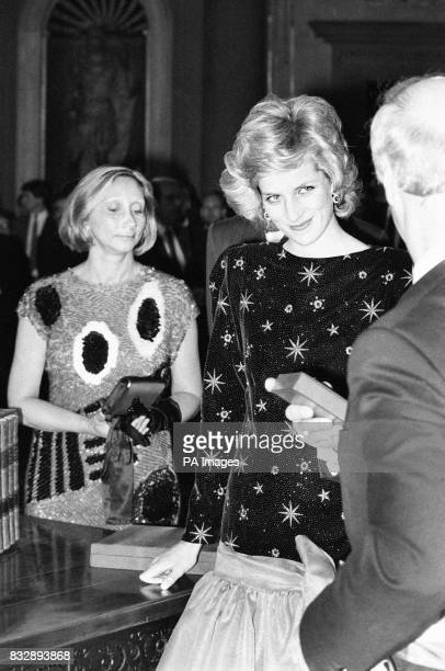 Diana Princess of Wales in a stunning outfit at the Banquet given by the Mayor of Florence at the Town's Palazzo Vecchio The Princess wears a low...