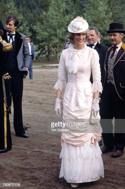 Diana Princess of Wales in a traditional Klondike outfit for a barbecue at Fort Edmonton Alberta during an official visit to Canada 29th June 1983