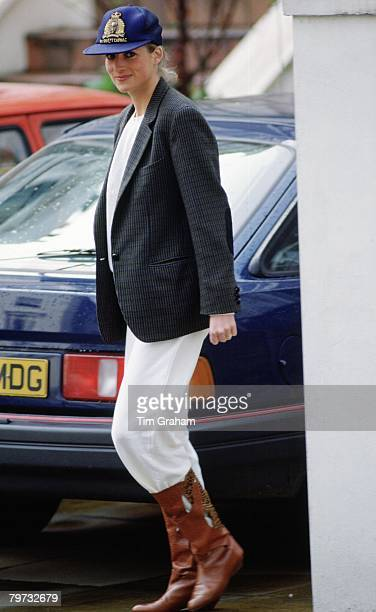 Diana Princess of Wales in casual clothes after dropping her sons off at Wetherby School
