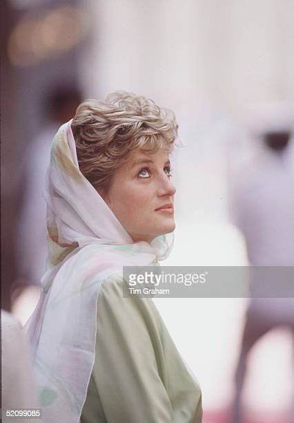 Diana Princess Of Wales In Egypt Wearing A Headscarf