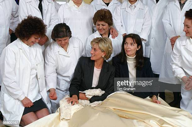 Diana Princess Of Wales In Her Sitting Room At Kensington Palace With Dress Designer Catherine Walker And The 'petites Mains' Dressmakers