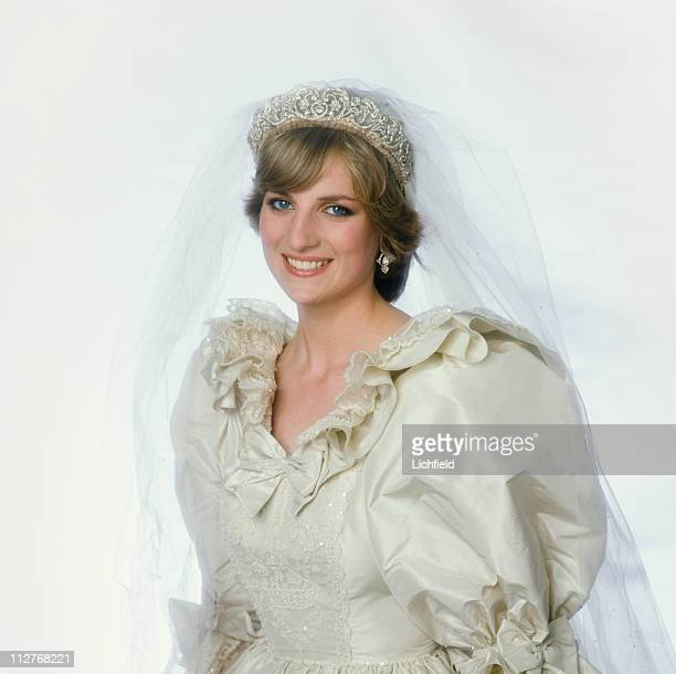 Diana Princess of Wales in her wedding dress at Buckingham Palace London after her wedding 29th July 1981