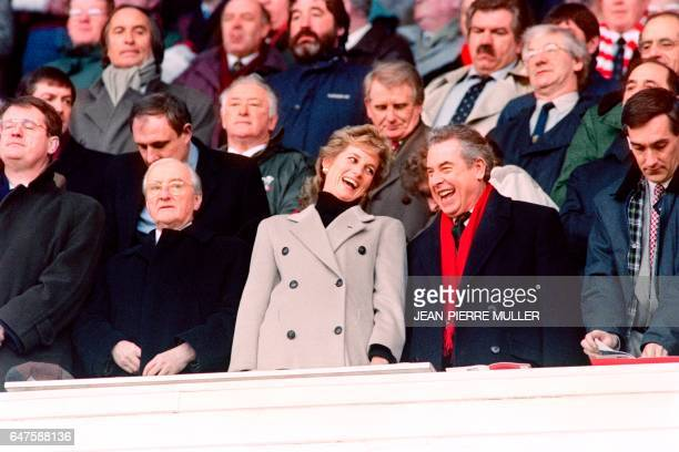 Diana Princess of Wales jokes with an unidentified man prior the Five Nations match between France and Wales at Cardiff Arms Park in Cardiff on...