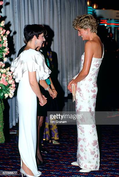 Diana Princess Of Wales Laughing And Joking With Actress And Singer Liza Minnelli At The Film Premiere At The Empire Cinema In Leicester Square Of...