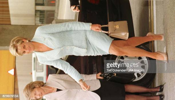 Diana Princess of Wales leaves Heathrow Airport for Washington on the latest phase of her worldwide campaign to ban landmines She is carrying a Lana...