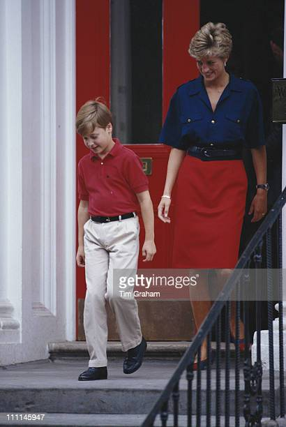 Diana Princess of Wales leaves Wetherby School in London with Prince William having dropped off her younger son Prince Harry 5th September 1991