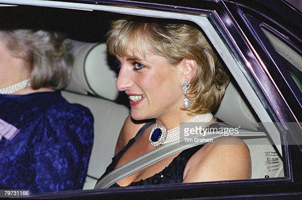 Diana Princess of Wales leaving a gala evening in aid of Cancer Research at Bridgewater House in London